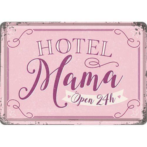 Plaque en métal 14 X 10 cm Hotel mama open 24h/Hôtel maman ouvert 24h/24