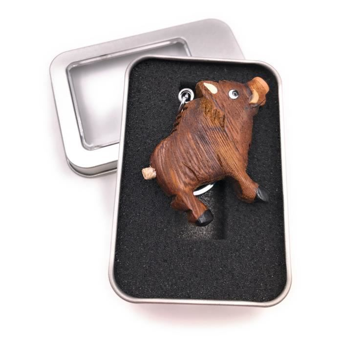 Porte-clés bois sanglier sanglier défenses ongulés cochon pendentif dans une boîte cadeau