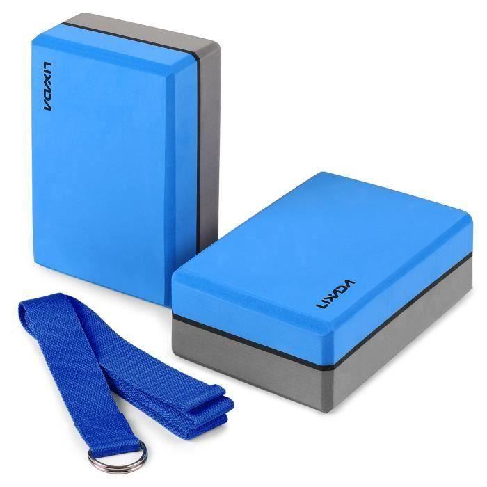 2pcs Yoga Bloquer moussant mousse brique exercice de remise en forme Stretching aide Gym Bleu + Bande élastique de fitness Bleu