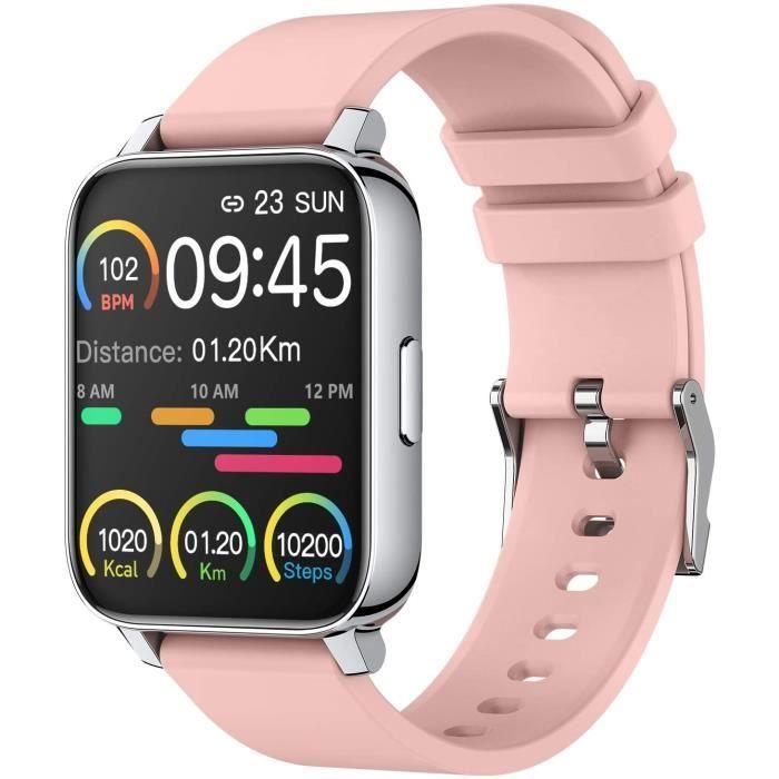 Montre Connectée Femmes, 1,69'' Montre Intelligente Smartwatch avec Moniteur Sommeil de Fréquence Cardiaque, Montre Sport Etanch100