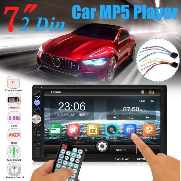 2 DIN 7'' HD MP5 Autoradio Tactile USB + AUX Bluetooth Multimedia Voiture L55005