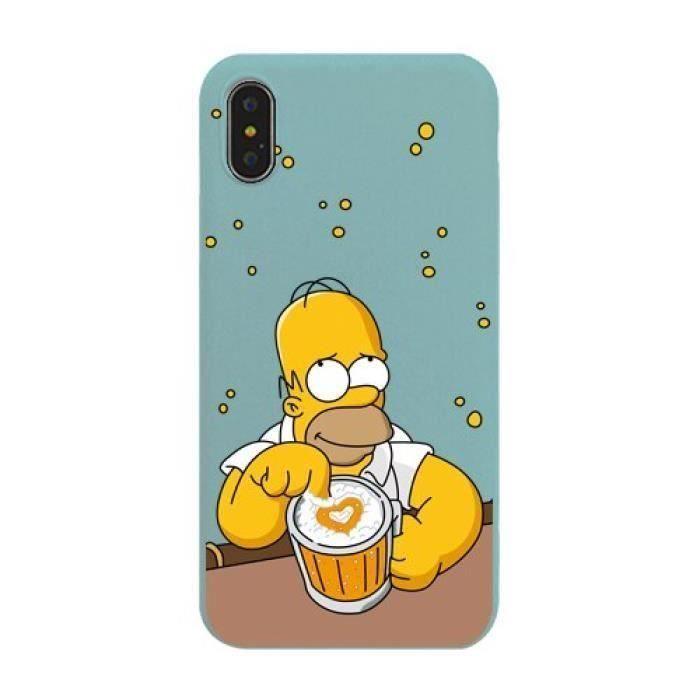 AA Coque, iPhone7, Beau 2 Mignon Dessin Animé Simpson Téléphone étuis iphone Étui Silicone Souple étui polyuréthane thermoplastique