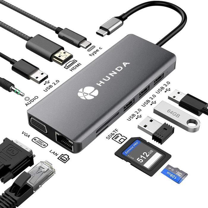 USB C Hub,11 en 1 USB C Hub MacBook Pro Adaptateur avec 4K HDMI, 1080P VGA, RJ45 Gigabit Ethernet, Lecteur de Carte SD/TF, 3.5mm AUX