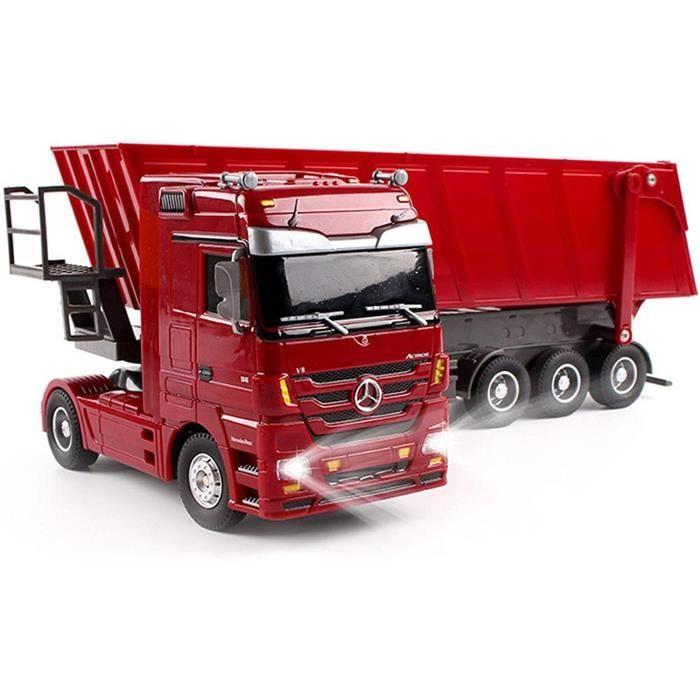 VEHICULE MINIATURE ASSEMBLE ENGIN TERRESTRE MINIATURE ASSEMBLE Camion RC Voiture À Plat Semi-Remorque Camion-Benne Enfa623