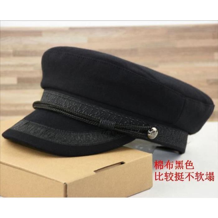 Grande taille casquette marine petite tête chapeau plat feutre armée chapeau gros os hommes laine pl cotton Black 57-59cm