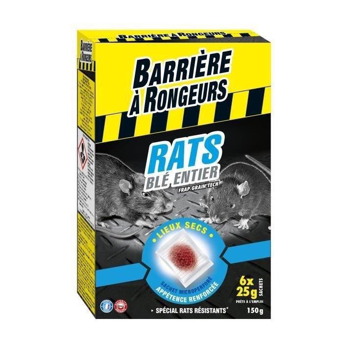 BARRIERE A RONGEURS Appât sur céréales pour rats - Spécial lieux secs - 150 g