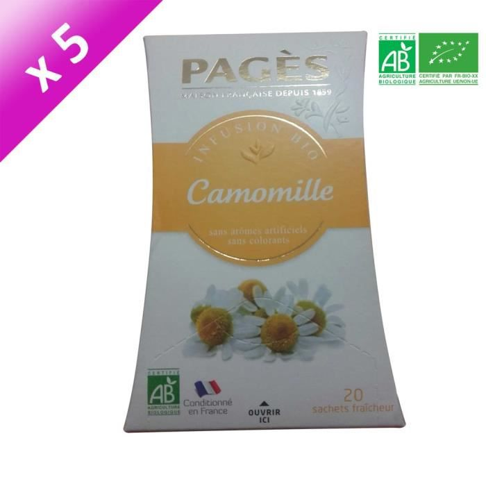 PAGES Lot de 5 Infusions Camomille Bio