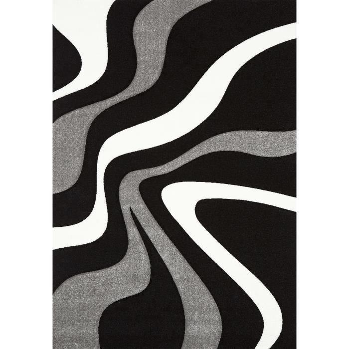 DIAMOND VAGUES Tapis de salon 80x150 noir gris et blanc