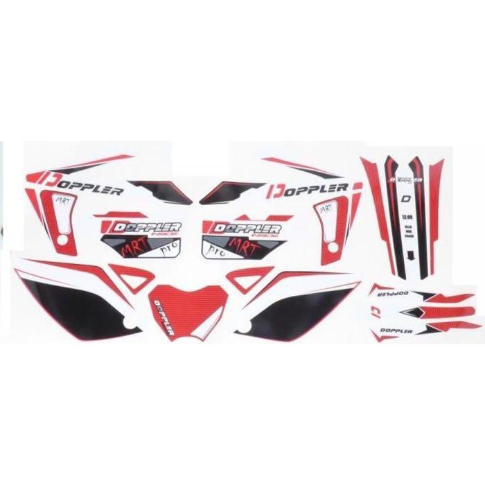Kit déco Doppler rouge et noir moto Rieju 50 MRT autocollant stickers 19 pièces