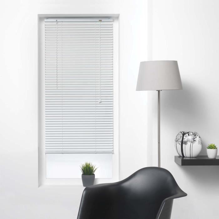 Store venitien lamelles 60 x 130 cm aluminium venitien Blanc