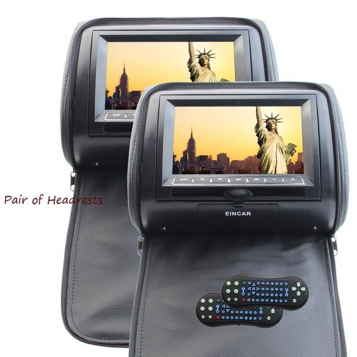 EINCAR AUTORADIO 2pcs Lecteur DVD appuie-tête 7 pouces numérique HD 800 * 480 TFT Pillow voiture écran LCD avec port HDMI et