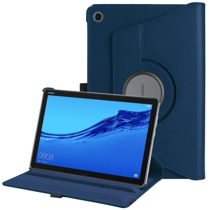 Fintie Coque pour Huawei MediaPad M5 Lite 10.1 Pouces, 360° Rotation Housse Rotatif Etui de Protection, Sommeil/Réveil Auto, Bleu