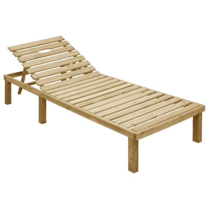 TOP-ZHU Chaise longue Bois de pin imprégné