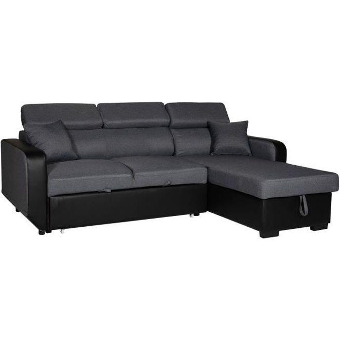 Canapé d'angle convertible WARREN 3 places gris chiné et noir Gris / Noir