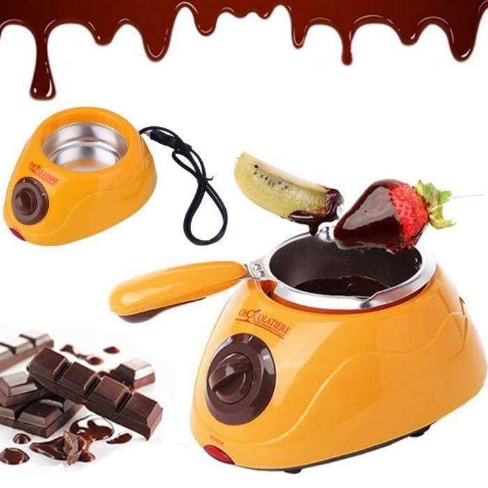 Électrique Fontaine de Chocolat Fondue Chanteur Chocolat Fondre Pot fondoir Machine avec des Moules-jaune