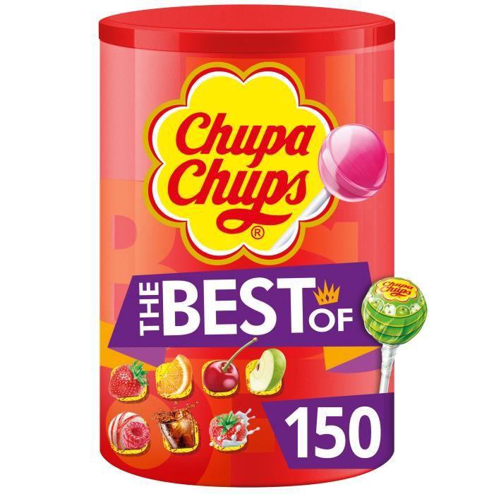 CHUPA CHUPS Tubo de 150 sucettes Best Of - Parfums fraise, pomme, cerise, orange, cola, lait fraise et framboise vanille