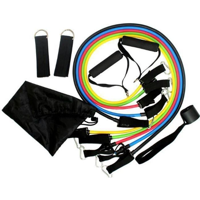 set bande elastique fitness musculation 11 sport de resistance traction large cheville pied kit sangle exercice