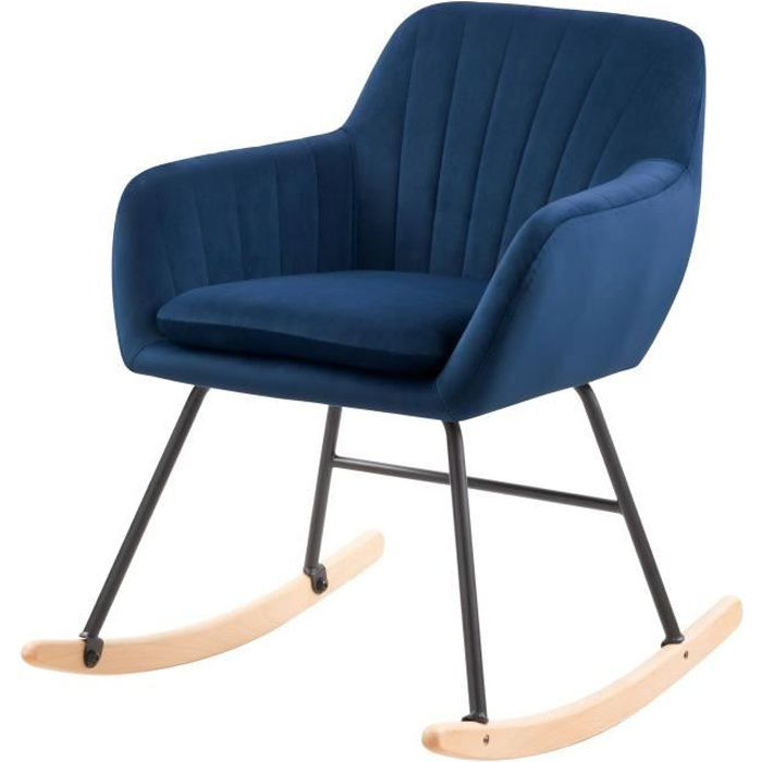Rocking-chair Isola en velours bleu