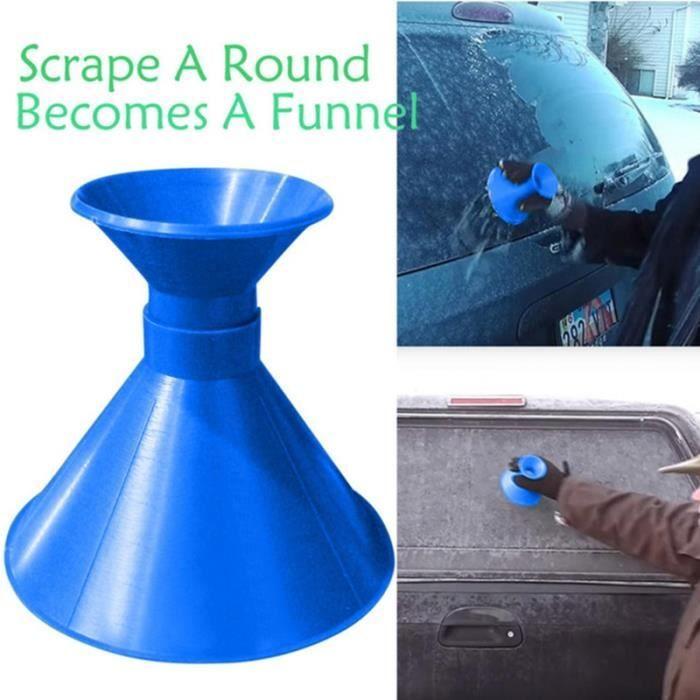 Grattoir à glace en neige pour voiture gratter un pinceau rond magique Brosses en forme de cône devient bleu