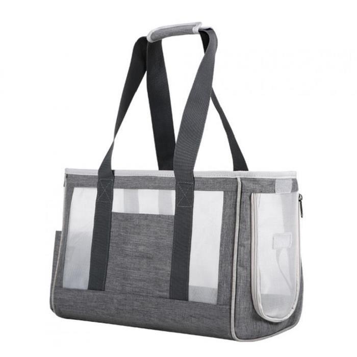 Sac de porte-animal sac respirable chat portable sac à main sac à main pour chien chiot gris l