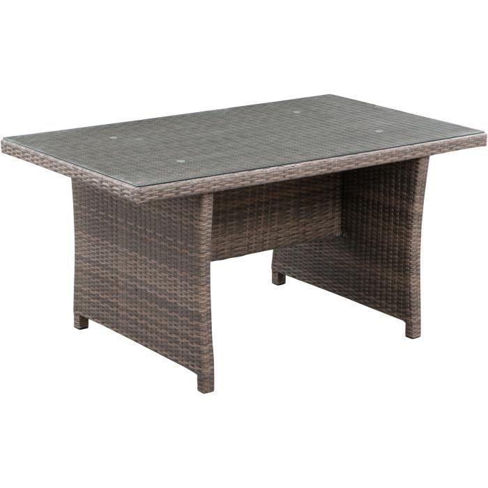 Table de jardin 6 personnes - 150 x 90 x H.75 cm - Acier & Résine tressée et Plateau en verre