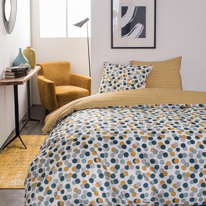 TODAY Parure de lit SUNSHINE 5.6 - 2 personnes - 220 x 240 cm coton - Imprimé Blanc Graphique TODAY