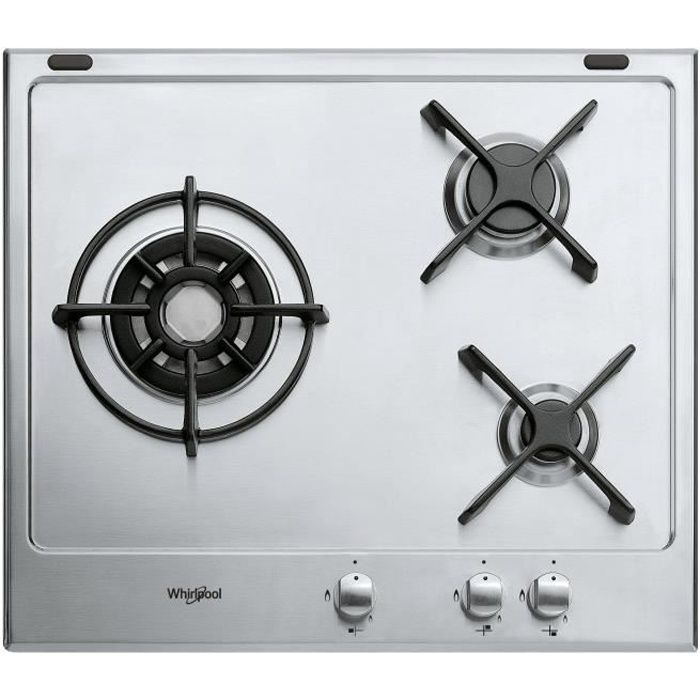 WHIRLPOOL- GM6342IX - Table de cuisson gaz -3 foyers -6350W - L60cm - Inox