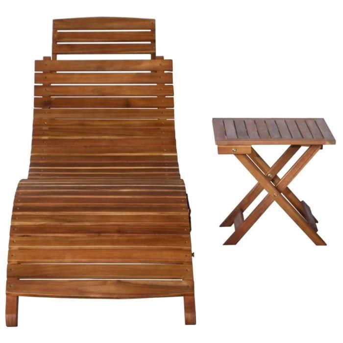 WIPE Chaise longue avec table Bois d'acacia massif Marron #2