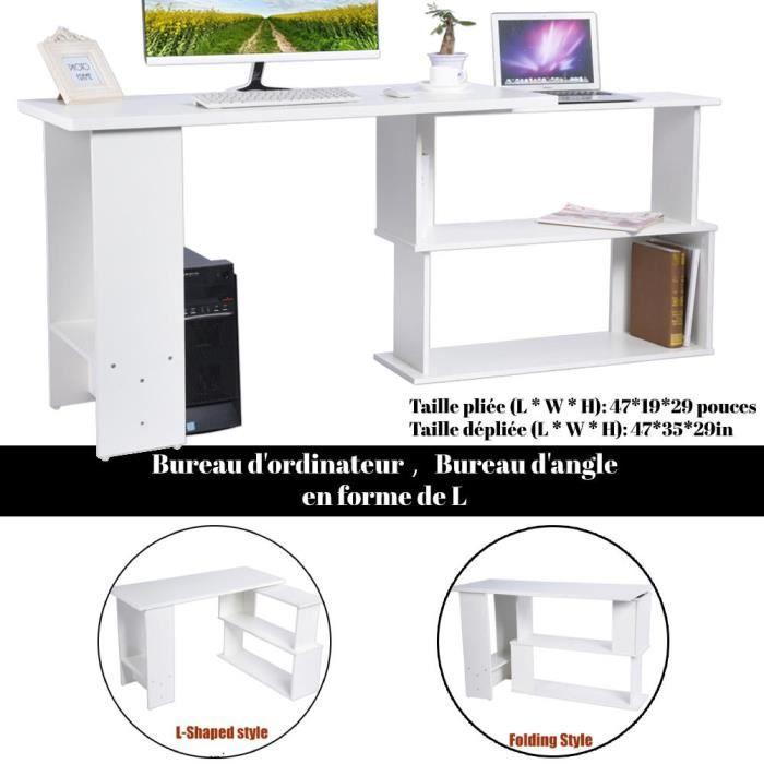Bureau D'angle Rotatif à 360° - Station de travail en Bois en Forme de L avec étagère de rangement blanc L04068