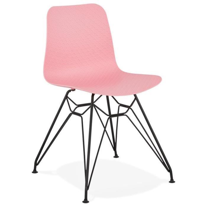 CHAISE Chaise design 'GAUDY' rose style industriel avec p