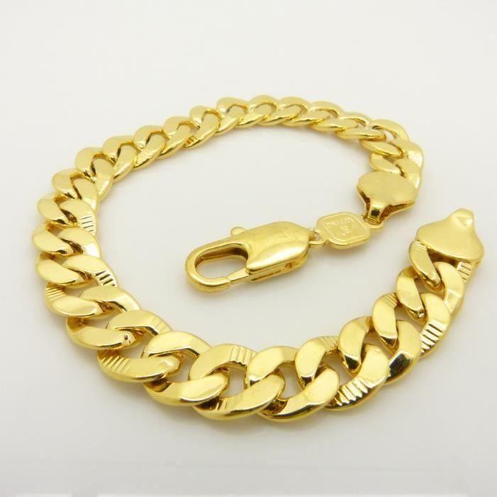 BRACELET - GOURMETTE Bracelet homme métal doré
