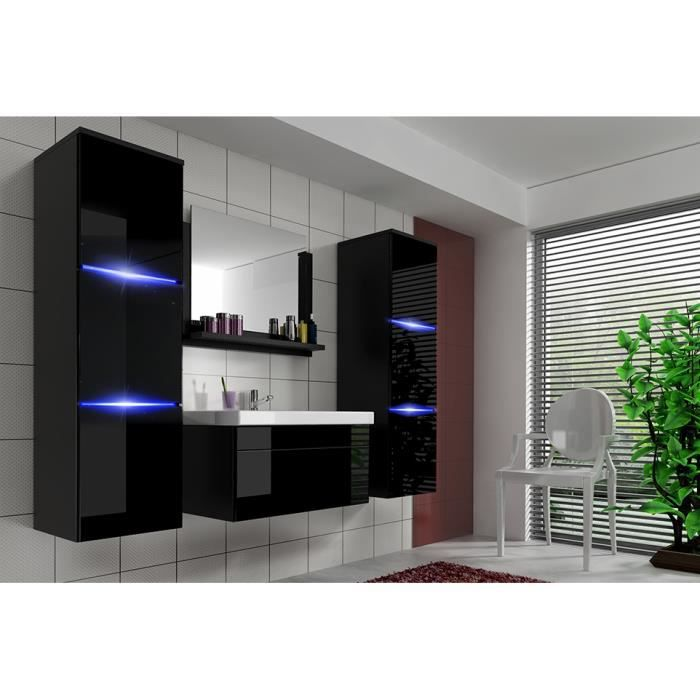 salle de bain compl te luna noir fa ade laqu e brillante high gloss led vasque en c ramique. Black Bedroom Furniture Sets. Home Design Ideas