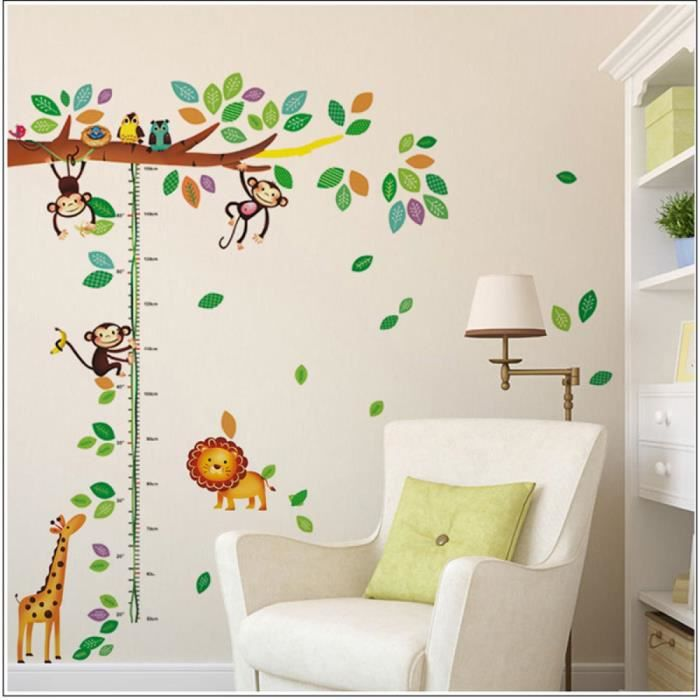 bande dessin e girafe singe arbres hauteur sticker adh sifs muraux chambre de b b enfants. Black Bedroom Furniture Sets. Home Design Ideas