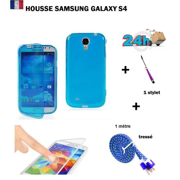 Housse coque de protection bleu samsung galaxy s4 gt for Housse samsung galaxy s4