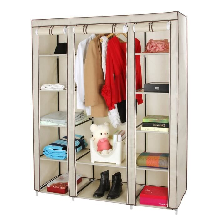 meuble penderie garde robe etagere pour chaussures vetements xxl 180 x 150 x 45 cm beige achat. Black Bedroom Furniture Sets. Home Design Ideas