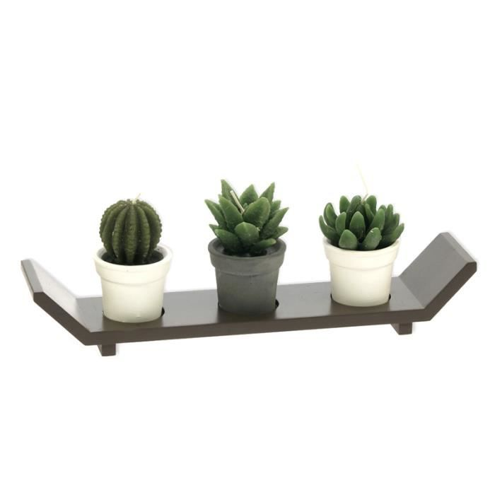 plateau d 39 asie bois zen 3 bougies cactus achat vente plat de service cdiscount. Black Bedroom Furniture Sets. Home Design Ideas
