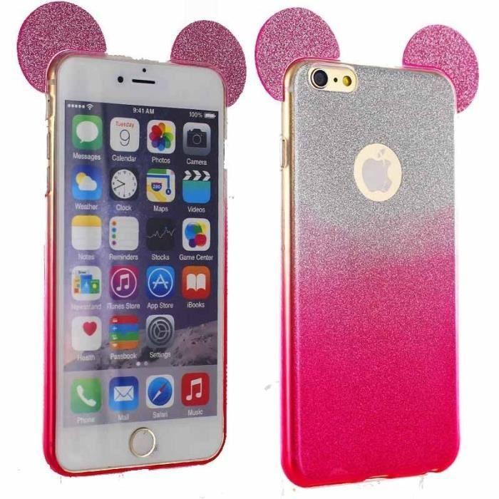 Coque iPhone 6 et iPhone 6s Strass Etoiles Fun Protection Anti choc Design (Rose)
