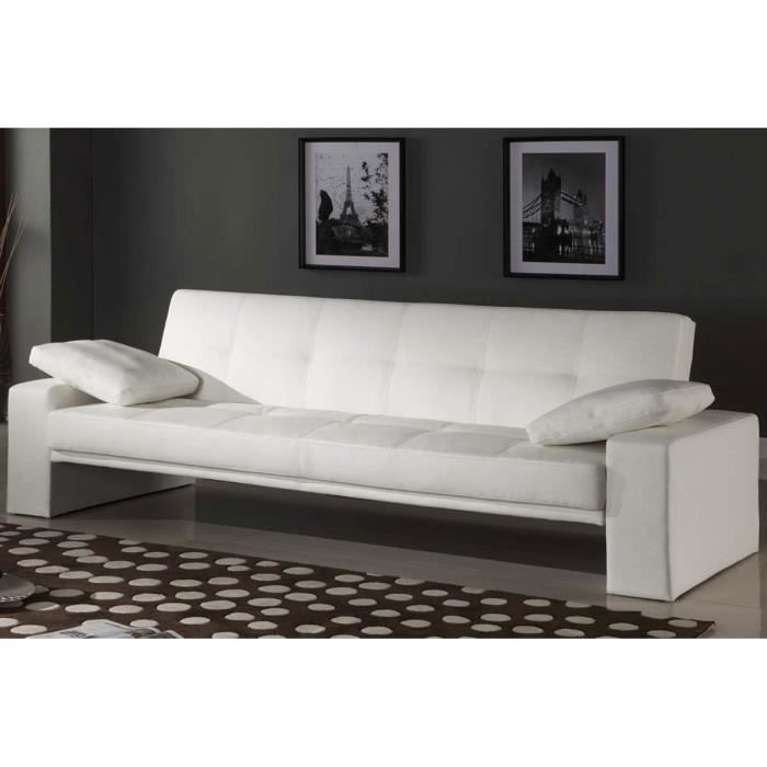 canap lit convertible 3 places cuir blanc malte achat. Black Bedroom Furniture Sets. Home Design Ideas