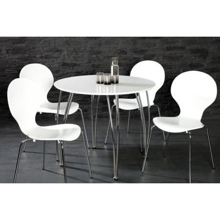Table ronde vicky blanc laqu achat vente table a for Table 4 personnes dimensions