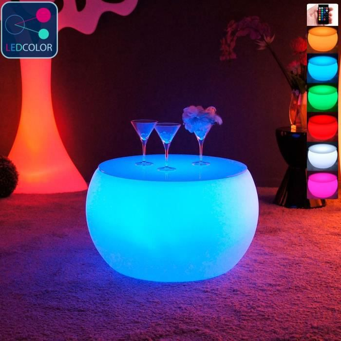 Table Basse Lumineuse A Led Multicolore Round Achat Vente