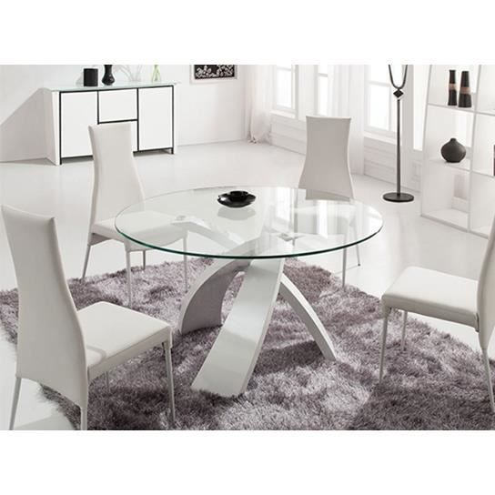 Table en verre ronde castle blanc table ronde achat for Table ronde design 6 personnes