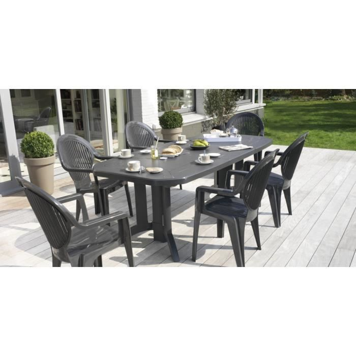 Salon de jardin Vega Anthracite : Table 2m20 + 6 fauteuils ...
