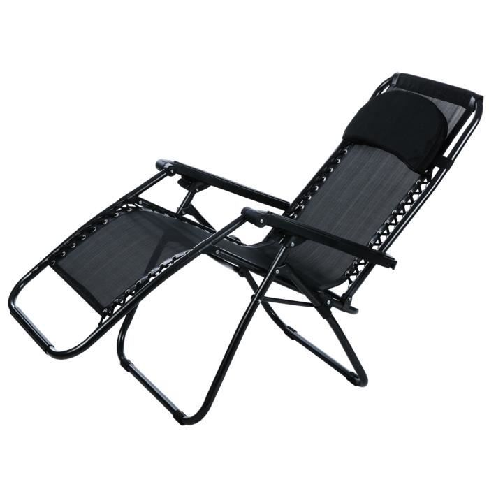 fauteuil pliant zero gravity inclinable salon portable jardin camping chaise ext rieure achat. Black Bedroom Furniture Sets. Home Design Ideas