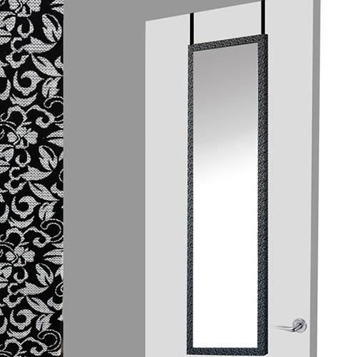 miroir pour porte noir floral 37x2x128 achat vente. Black Bedroom Furniture Sets. Home Design Ideas