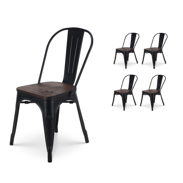 CHAISE KOSMI - Lot de 4 chaises en métal noir mat avec as