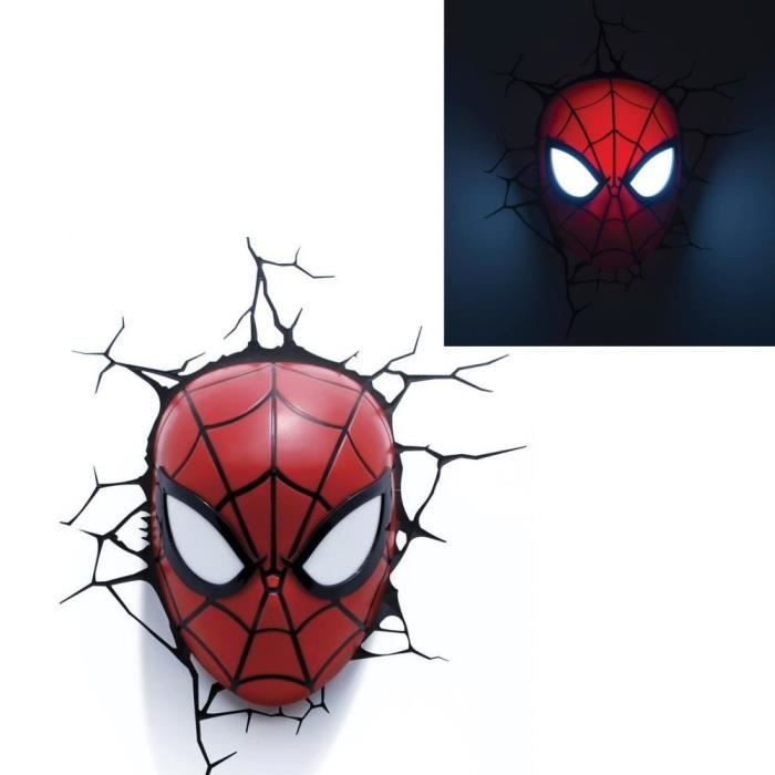 Spiderman lampe murale d corative 3d masque de spiderman for Lampe decoration murale 3d marteau thor