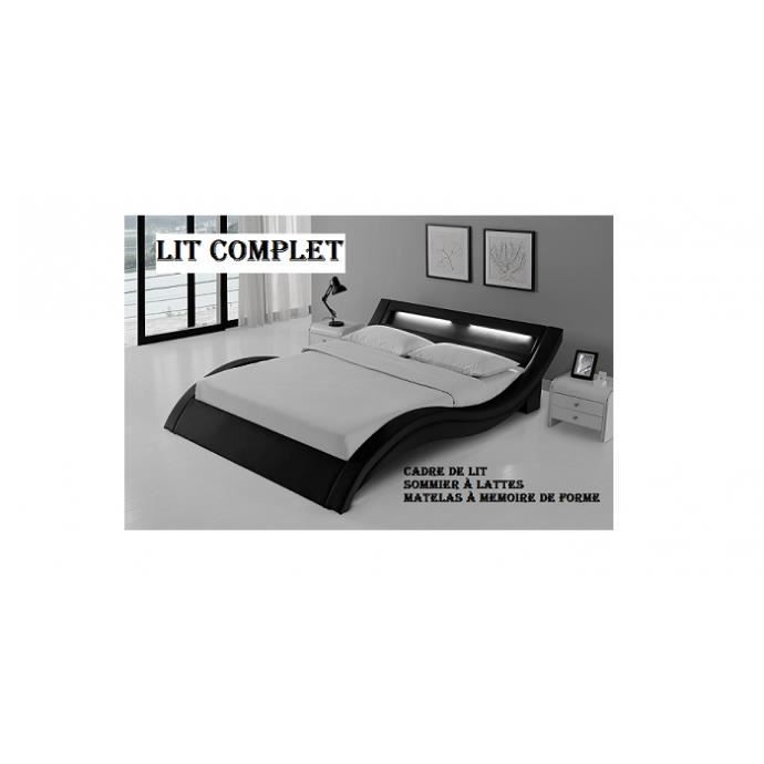 lit complet led laurine 140x190cm matelas essentiel m moire de forme achat vente lit. Black Bedroom Furniture Sets. Home Design Ideas