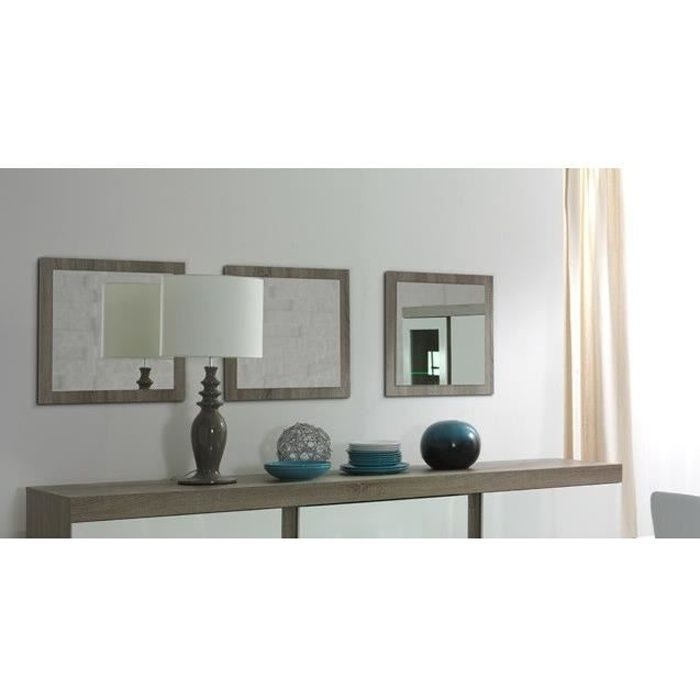 VITRINE - ARGENTIER Lot de 3 miroirs STEFANO. Cadre coloris sonoma. Ac