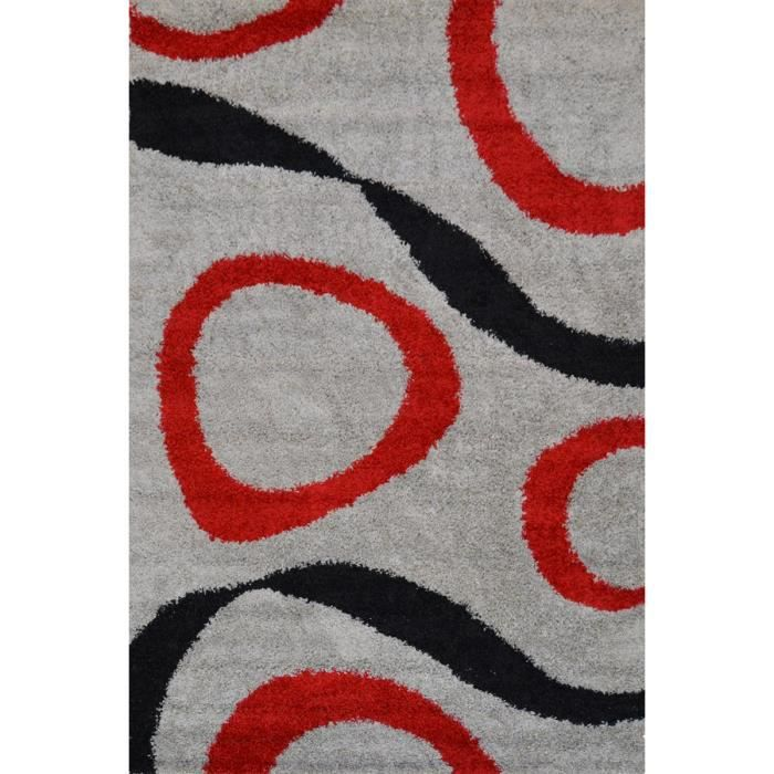 tapis shaggy sensation gris et rouge 80x150 cm achat. Black Bedroom Furniture Sets. Home Design Ideas