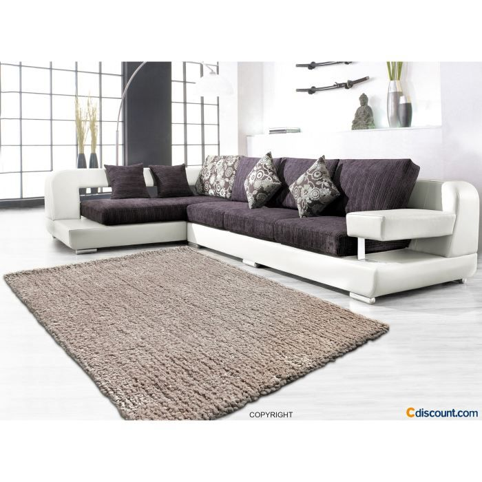 tapis cotton shaggy taupe 120 150 cm achat vente tapis 100 polyester cdiscount. Black Bedroom Furniture Sets. Home Design Ideas